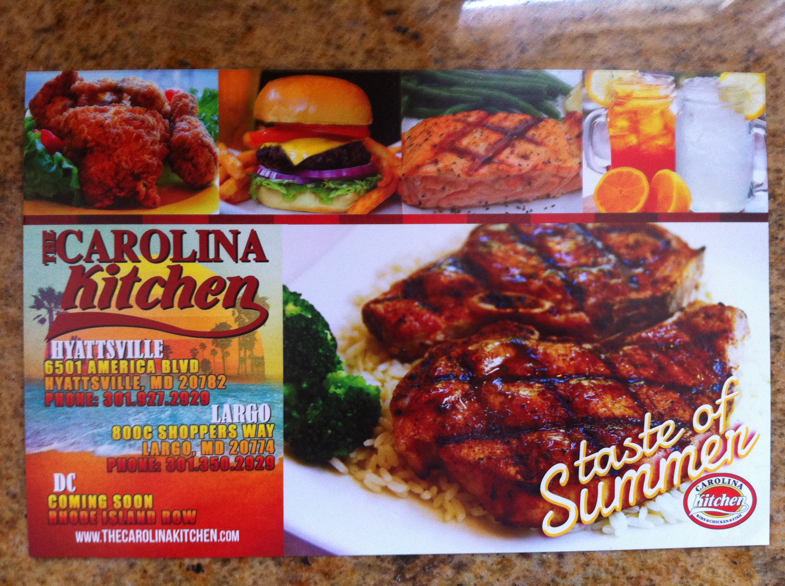 Carolina Kitchen Rhode Island Row Menu