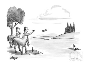 warren-miller-two-centaurs-playing-a-game-of-horse-shoes-but-using-people-s-sandals-new-yorker-cartoon