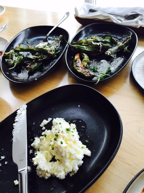 Shishito peppers and ricotta